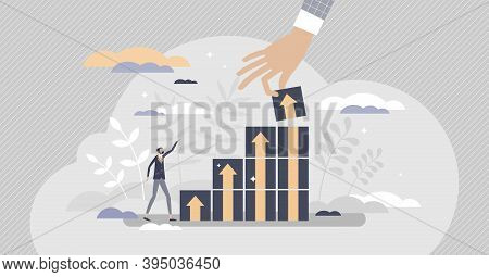Productivity Management With Performance Progress Boost Tiny Person Concept. Business Strategy Plann