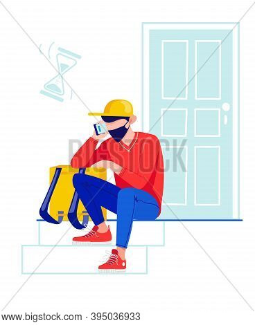 The Courier Sits Near The Door Waiting For Customers. The Delivery Man Is Waiting. Difficulties In T