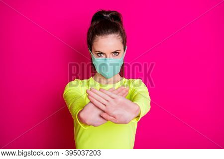 Photo Portrait Of Girl Wearing Protective Facial Mask Keeping Hands In Front Showing Stop Isolated O
