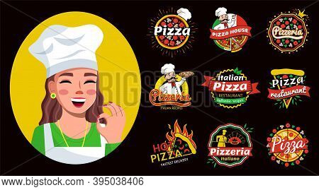 Set Of Pizza Hand Written Lettering Logo, Label, Badge And A Cute Smiling Girl In A Cap Portrait Vec