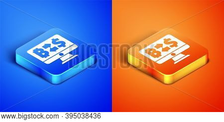 Isometric Cryptocurrency Exchange Icon Isolated On Blue And Orange Background. Bitcoin To Dollar Exc