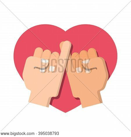 Hand Pinky  Promise On Pink Heart Sign Vector Design