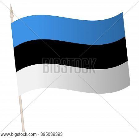 Vector Waving Flag On A Flagpole. The National Flag Of Estonia.
