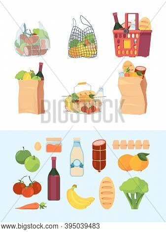 Grocery Bags. Shopping Basket Market Bagged Food Milk Vegetables Meat Vector Colorful Set. Supermark