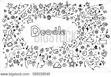 Vector Background With The Word Doodle And A Background Around It A Set Of Different Small Geometric