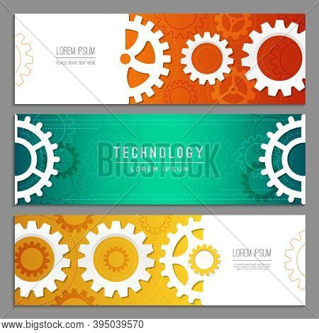 Cogwheels Banners. Abstract Background With Gears Machinery Industry Parts Vector Header Templates.