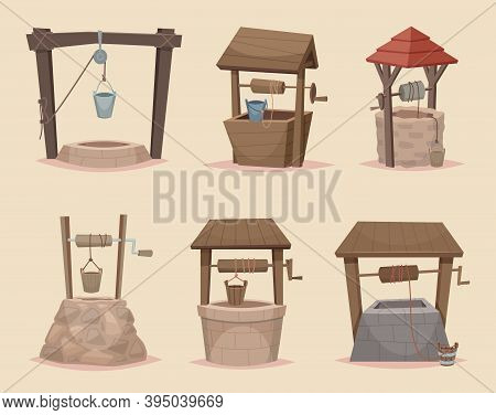 Well Cartoon. Different Wellness From Wooden And Stone Materials Village Architectural Objects Vecto