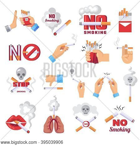 Cigarette Icon. Dangerous From Smoke Of Cigarettes Vector Lungs Protection Concept Illustration. Tob