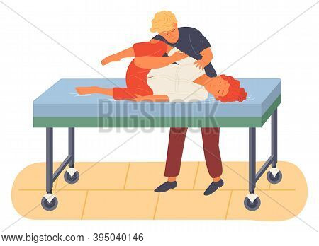 Pregnancy Preparing, Wife And Husband Make A Position Training On A Medical Sofa. Exercising For Pre