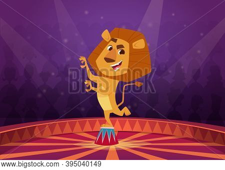 Lion In Circus. Wild Angry Lion Acrobat Jumping In Fire Circle Circus Performer Show Vector Cartoon