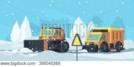 Snow Removal. Heavy Trucks Cleaning Urban Road From Snowstorm Vector Cartoon Background. Illustratio