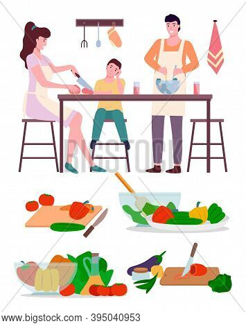 Happy Family Mom Dad And Son Cooking In Kitchen Flat Illustration. Preparing Family Dinner In Kitche