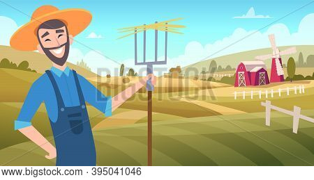 Farmers At Field. Harvesting Gardeners Working At Farm Agricultural Vector Cartoon Background. Illus