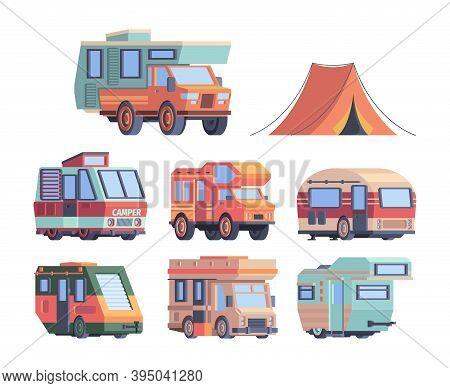 Camping Car. Caravaners Road Trip Explorer Transport Vector Truck Collection. Illustration Camping E