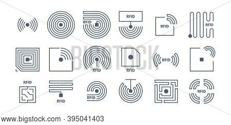 Rfid Icons. Radio Tagging Chips Identification Wireless Semiconductors Shopping Frequency Vector Sym