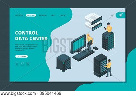 Data Server Landing. Software And Hardware Items For Global Storages Ethernet Computer Services Vect