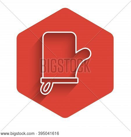 White Line Sauna Mittens Icon Isolated With Long Shadow. Mitten For Spa. Red Hexagon Button. Vector