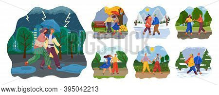 Couple Walking In Various Weather Conditions. Man And Woman Spend Time Together On A Rainy Day, Wint