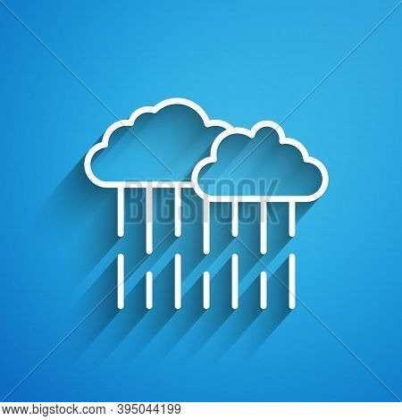 White Line Cloud With Rain Icon Isolated On Blue Background. Rain Cloud Precipitation With Rain Drop