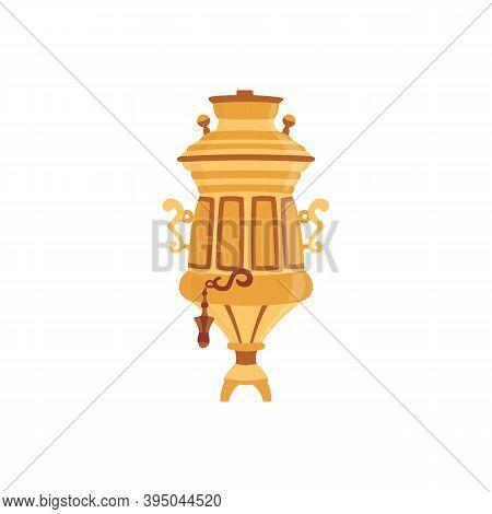 Golden Russian Samovar For Tea Brewing Flat Vector Illustration Isolated.