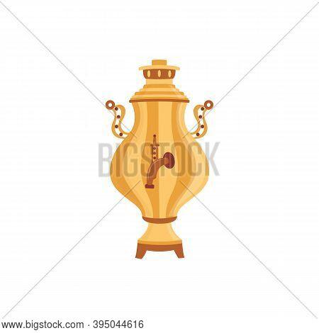 Russian Tea Samovar Utensil For Drink Brewing, Flat Vector Illustration Isolated.