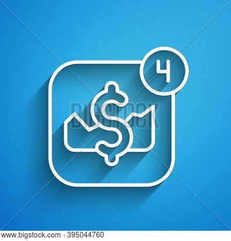White Line Mobile Stock Trading Concept Icon Isolated On Blue Background. Online Trading, Stock Mark
