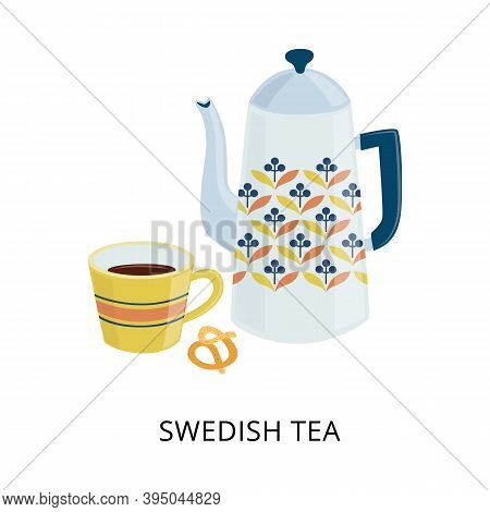 Swedish Teatime Or Fika Card With Cup And Teapot, Flat Vector Illustration.