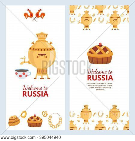 Welcome To Russia Cards Set With Russian Samovar Cartoon Vector Illustration.