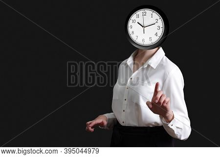 Time Management With Alarm Clock Headed Woman In White Blouse Points Her Finger At You Or Something,