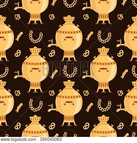 Seamless Pattern With Gold Russian Samovar And Bagels, Flat Vector Illustration.