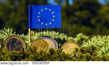 European Union Flag With Euro Coins Amid Moss,business,finance And Economy Concept,macro Close Up