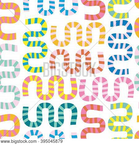 Modern Abstract Shapes Collage Seamless Vector Kids Pattern. Contemporary Art Repeating Background I