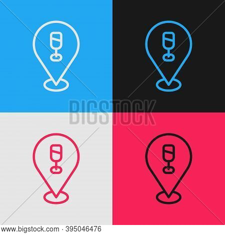 Pop Art Line Alcohol Or Beer Bar Location Icon Isolated On Color Background. Symbol Of Drinking, Pub