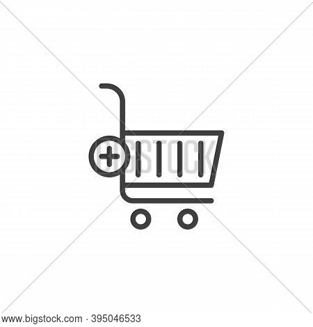 Add To Shopping Cart Line Icon. Linear Style Sign For Mobile Concept And Web Design. Add To Purchase