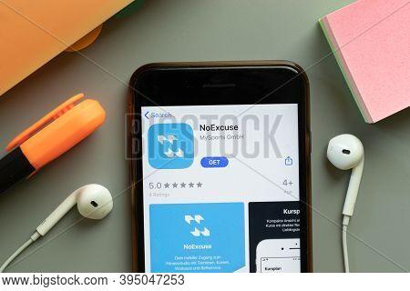 New York, United States - 7 November 2020: Noexcuse App Store Logo On Phone Screen, Illustrative Edi