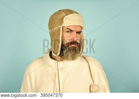 Bearded Hipster. Winter Fashion. Warm Hat For Cold Weather. Beard Care For Winter Season. Facial Hai