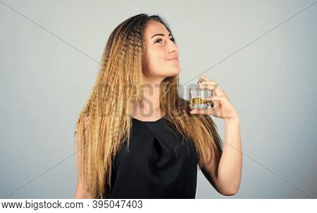 My Perfume. Girl With Bottle Of Perfume. Perfume Advertising. Woman With Bottle Of Smell. Girl Apply