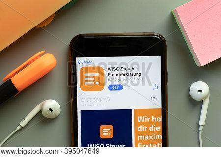 New York, United States - 7 November 2020: Wiso Steuer App Store Logo On Phone Screen, Illustrative