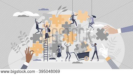 Teamwork Puzzle As Effective Team Collaboration Process Tiny Person Concept. Active, Busy And Dynami