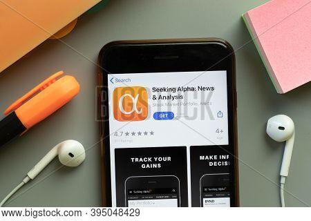 New York, United States - 7 November 2020: Seeking Alpha News App Store Logo On Phone Screen, Illust