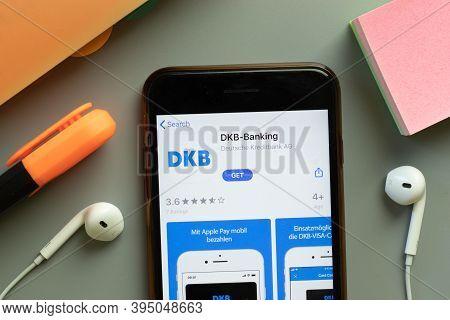 New York, United States - 7 November 2020: Dkb-banking App Store Logo On Phone Screen, Illustrative