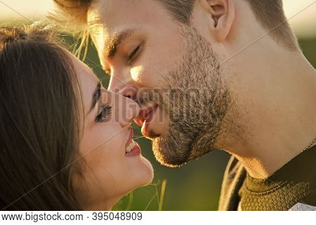 Sexual Energy. Sexy Couple In Love. Girl And Handsome Man Kissing. Seduction And Foreplay. Sensual K
