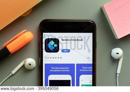New York, United States - 7 November 2020: Yandex Checkout Yandex.checkout App Store Logo On Phone S