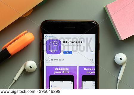New York, United States - 7 November 2020: Bill Organizer App Store Logo On Phone Screen, Illustrati