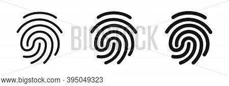 Fingerprint Collection. Vector Finger Print Scanner Icon Set.