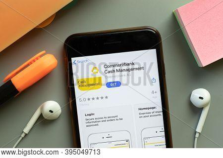 New York, United States - 7 November 2020: Commerzbank Cash Management App Store Logo On Phone Scree