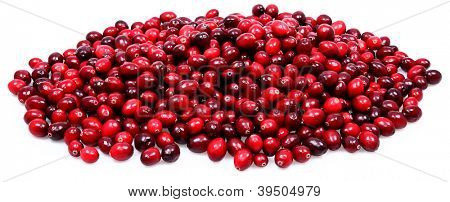 Large Pile of Fresh Raw Cranberries Over White