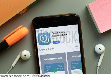 New York, United States - 7 November 2020: Bruno Brutto Netto Rechner App Store Logo On Phone Screen