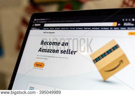 Kyiv, Ukraine - November 16, 2020: Amazon Web Site On Computer Screen. It Is An Online Retail Servic