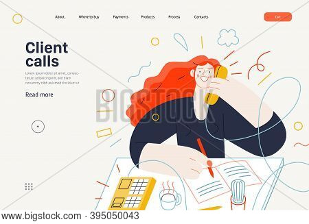 Business Topics - Client Calls, Web Template. Flat Style Modern Outlined Vector Concept Illustration